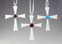 These delicate crosses reflect the true meaning of Christmas. Each cross is created by me in my studio from precisely cut pieces of glass and accented with real gold then fired in my kiln. Each cross is unique and one of a kind and measure approximately 5 tall and 3 1/2 across. You can choose the color for the center accent. Sold separately.  Receive 15% off thru December 31st. Use the coupon code Holiday16 at checkout. Color availability is limited.