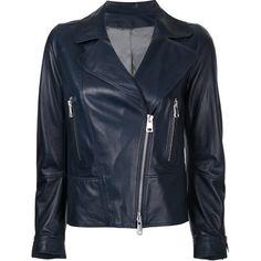 Sylvie Schimmel Love jacket ($1,424) ❤ liked on Polyvore featuring outerwear, jackets, blue, sylvie schimmel, lambskin jacket, lambskin leather jackets, lamb leather jacket and blue jackets