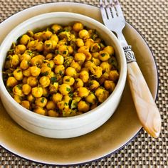Recipe for Curried Chickpea Salad (from Joan's on Third, Los Angeles). There are a lot of good chickpea salads, but this is one of my faves. [from KalynsKitchen.com] #ChickpeaSalad #GlutenFree #Vegan