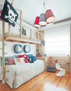 Awesome pirate loft for a little boy's bedroom. You could widen the loft and put a bed up there, and alter the theme to astronauts, Buzz Lightyear, etc. So sweet. | Tiny Homes