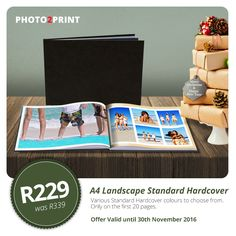 Special Offer: R110 OFF on an A4 Landscape Standard Hardcover Photobook. Various colours to choose from.  Offer valid until 30th November 2016.  #special #gift #photobooks