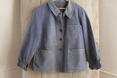 Vintage French peasant travaille bleus Work Chore wear denim blue Jacket coat ~~