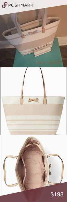 """NWT Kate Spade Tote -- WORK OR PLAY! NWT Kate Spade Eden Street Margareta Tote Bag with Zip Top Closure. Wallet is in another Listing and is not included in the purchase.  Color. pumice/cement SIZE 11.3""""h x 12.9""""w x """"d. Much wider at top drop length: 9.44""""  MATERIAL pebbled grainy vinyl with smooth leather trim capital kate jacquard lining style # wkru4184  DETAILS tote bag with zip top closure interior zipper pocket and dual slide pockets kate spade Bags"""