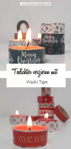 Teelichter verzieren mit Washi Tape #Weihnachten #Weihnachtsdeko#WashiTape Diy Weihnachten, Repurposing, Washi Tape, Tea Lights, Germany, Mountain, Candles, Interior, Inspiration