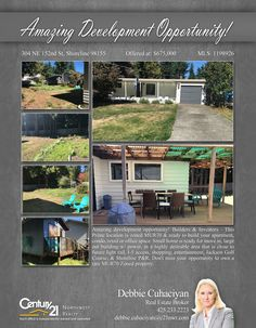 #NEWLISTING  Amazing development opportunity! Builders & Investors - This Prime location is zoned MUR70 & ready to build your apartment, condo, retail or office space. Small home is ready for move in, large out building w/ power, in a highly desirable area that is close to future light rail, I-5 access, shopping, entertainment, Jackson Golf Course, & Shoreline P&R. Don't miss your opportunity to own a rare MUR70 Zoned property.  Contact Debbie Cuhaciyan @ (425) 233-2223 MLS # 1198926…