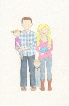 Custom Watercolor Family Portrait family of 5 by HappyLeighDesign