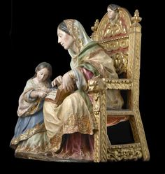 Luisa Roldan The Education of the Virgin painting size: 76 x 63 x 43 cm (approx. 28 ¾ x 24 ¾ x 17 in. Saints And Sinners, New Testament, Ikon, Medieval, Madonna, Carving, Fine Art, Sculpture, Education