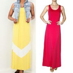Battle of the maxi dresses! Yellow chevron maxi or fuschia racerback maxi?  #maxidress #maxidresses #summerdress #longmaxi #fashion #boutique  http://www.modestladyboutique.com/collections/dress