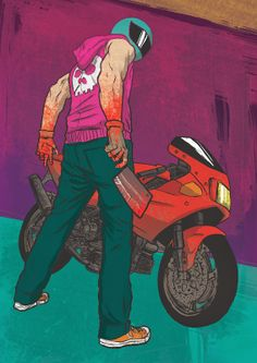 Hotline Miami The biker  This is one of the best, most accurate reference pictures of the Biker that I've found. This and gif of him with his head blown are what I'm using to make my cosplay