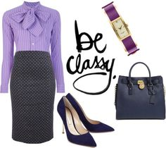 """Be Classy - Use Purple To Perk Up Your Work Wardrobe"" by latoyacl ❤ liked on Polyvore"