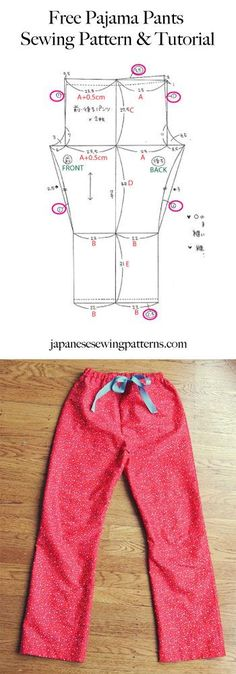 Free pyjama (Japanese spelling I think) pajama pants sewing pattern. Adjust the size to fit you perfectly! Japanese Sewing Patterns, Sewing Patterns Free, Free Sewing, Sewing Tutorials, Clothing Patterns, Sewing Projects, Free Pattern, Sewing Diy, Sewing Ideas