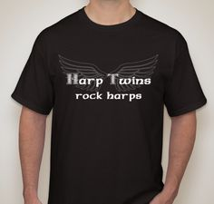 Show your Harp Twins spirit by wearing this Harp Twins Rock Harps official t-shirt! 100% pre-shrunk cotton. Unisex sizes S - 4XL available. Black t-shirt features white mirrored wing design with white Celtic Rock style lettering.Want to purchase more than one t-shirt