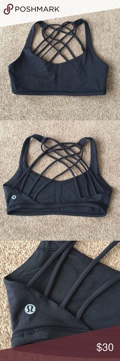 Lululemon Bra Sports bra with strapping back detail, excellent condition. Padding not included. Worn once. lululemon athletica Intimates & Sleepwear Bras