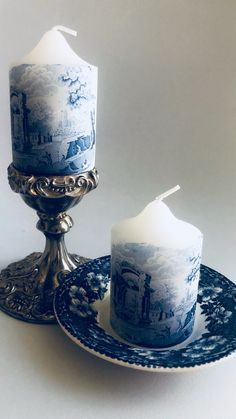 Blue Willow China, Blue And White China, Blue Candles, Pillar Candles, Scented Candles, Blue And White Dinnerware, Color Lila, Blue Gift, Blue Rooms