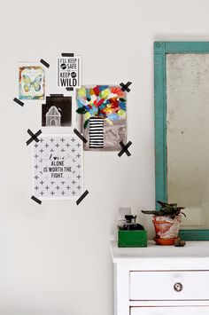 Print wall with washi tape.