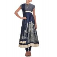 Navy Blue Anarkali Suit with Block Print