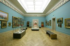 Manchester Art Gallery with walls in bespoke Farrow & Ball colour 'Rossetti Blue'