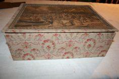 couture-ouvrage-de-dame-1-boite-ancienne-carton-tissu-fleuri-et-gravure-dessus
