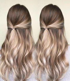 semirecogido elegante, pelo largo color avellana con mechones rubios, tendencias cabello temporada primavera verano 2018