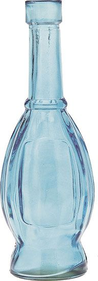 Blue Decorative Glass Bottle (bulb shape) 7 inches tall