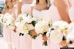 """Pink is back! Do you already feel like a blushing bride? Carry that sweet love over to your color scheme, says Tara Guérard,""""It's the nudes, the blushes, the peaches — not Pepto Bismol pink!"""""""