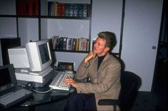 David Bowie on a computer, 1994.