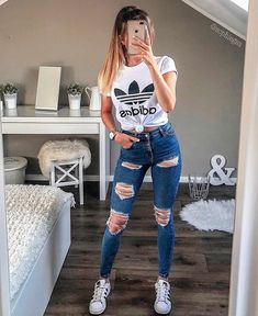 2020 Fashion Jeans For Women Size 46 Jeans - Cute outfits for school - Source by teenage outfits Outfit Jeans, Cute Outfits With Jeans, Cute Lazy Outfits, Teenage Girl Outfits, Teen Fashion Outfits, Casual Summer Outfits, Mode Outfits, Look Fashion, Stylish Outfits