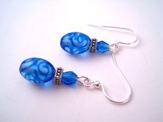 Glass Bead Earrings  Blue Glass Earrings  Swirl by Sparkleandswirl, $20.00