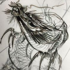 Картинки по запросу sketch tattoo dragon