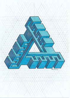 #impossible #isometric #penrose #triangle #Escher #oscarreutersvärd #symmetry #geometry #mathart #regolo54