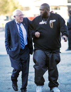 Democratic presidential candidate U. Bernie Sanders, I-Vt. left, walks in with rapper Killer Mike for a visit to The Busy Bee Café on Monday. Sen Bernie Sanders, Bernie Sanders For President, Katie Couric, Interview, Love N Hip Hop, The Right Man, Rapper, Presidents, Atlanta