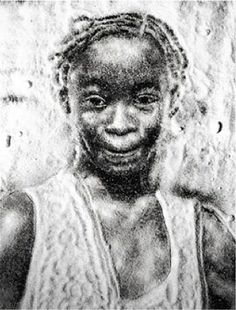 Vik Muniz:  portrait made using sugar against a black background