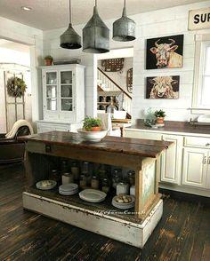 Farmhouse Kitchen Cabinets, Farmhouse Style Kitchen, Modern Farmhouse Kitchens, Kitchen Redo, Home Decor Kitchen, Kitchen Styling, New Kitchen, Home Kitchens, Kitchen Countertops