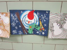 Stacked snowmen- gr. 3 - paper collage