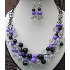 $24.99 Purple Black Crochet Wire Handmade OOAK Necklace Earring Set by Top Shelf Jewellery by topshelfjewellery on Handmade Australia