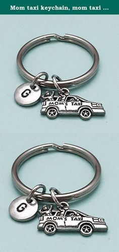Mom taxi keychain, mom taxi charm, mom keychain, personalized keychain, initial keychain, initial charm, customized, monogram. Mom taxi charm keychain with hand stamped initial *Initial charm is antique silver pewter 9mm *Mom taxi charm is antique silver pewter *Your purchase will arrive packaged in a cute gift box and I will include a message by request.