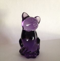 Fenton Art Glass Purple Cat Undecorated with Original Sticker