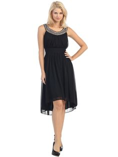 Jeweled Neckline High Low Dress | Sung Boutique L.A.