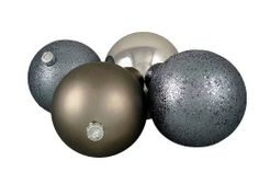 4 Christmas Ball Ornaments - 6'' by Gordon Companies, Inc. $37.50. This product may be prohibited inbound shipment to your destination.; Brand Name: Gordon Companies, Inc Mfg#: 30759461; Please refer to SKU# ATR25790245 when you inquire.; Picture may wrongfully represent. Please read title and description thoroughly.; Shipping Weight: 2.00 lbs. 4 Christmas ball ornaments/gray/shiny/matte/glittery/sparkly/shatterproof/hangers included/6'' dia. 150mm/made of plastic and glitter