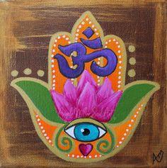 Hamsa Art, Evil Eye Art, Lotus Art, Hand Of Fatima, Hindu Art, Mandala Art, Art Decor, Hand Painted, Art Prints