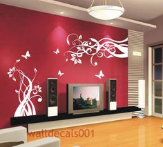 Wall Decal Wall Sticker Flower Butterfly Decal- Lovely flower With Butterfly. $48.00, via Etsy.