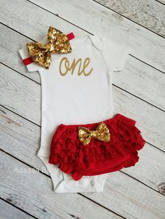 First Birthday Outfit Girl Red And Gold Outfit Red Bloomers One Onsie Red Bloomer 1st Birthday Outfit Cake Smash Outfit by AdassaBaby