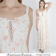 vtg 70s Floral Gunne Sax Dress Lace Corset Boho Hippie Wedding Prairie Maxi M #GunneSax #EmpireWaist #Casual