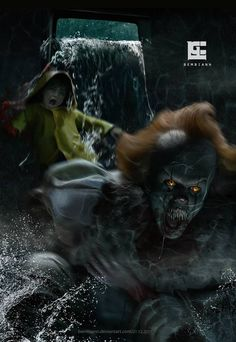 I refused an idea of picture, when Pennywise eating Georgie - that would be too cruel scene. You`ll float too! Clown Horror, Funny Horror, Le Clown, Creepy Clown, Horror Icons, Horror Art, Horror Movie Characters, Horror Movies, Desenhos Halloween