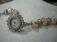 Silver Watch with Lampwork Glass Pink Roses Pink by TamerasTime, $30.00
