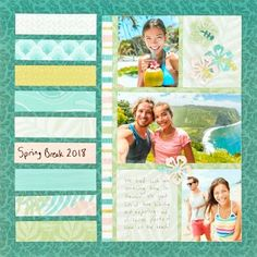 45 Ideas Landscape Layout Book Scrapbook Pages For 2019 Simple Scrapbooking Layouts, 8x8 Scrapbook Layouts, Scrapbook Titles, Scrapbook Sketches, Scrapbook Paper Crafts, Scrapbook Cards, Picture Layouts, Vacation Scrapbook, Simple Pictures
