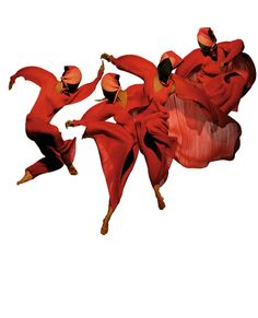 Fashion art - Dancers in red dresses, Issey Miyake