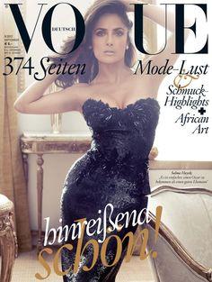 Salma Hayek cover the German Vogue September issue and she looks stunning wearing a Gucci dress and shot by Alexi Lubomirski. Vogue Covers, Vogue Magazine Covers, Fashion Magazine Cover, Fashion Cover, Selma Hayek, New York Fashion, Oscar Verleihung, Salma Hayek Photos, Fashion Vestidos