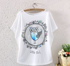 NEW FASHION SUMMER WOMEN BATWING SLEEVE BIRD GRAPHIC PRINTED T SHIRT LOOSE TOPS