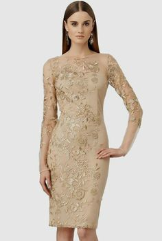 Apricot Embroidered Bodycon Party Dress